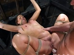 Flower Tucci gets bondage lessons while fucking her master.