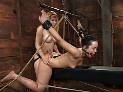 Girl fisted in bondage.